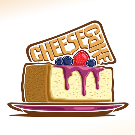 Vector logo for Cheesecake, illustration of italian confectionery for patisserie menu, poster with slice New York cheesecake on plate and original font for word cheesecake, cake with mascarpone cheese