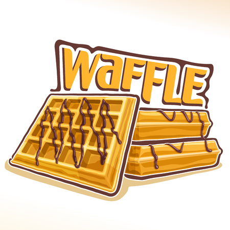 Vector for belgian Waffle, illustration of heap sweet square wafers with chocolate for patisserie menu, poster with homemade served pastry and original font for word waffle, fresh belgium dessert 일러스트