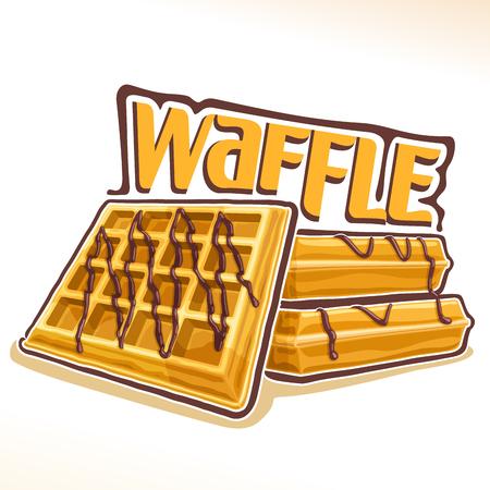 Vector voor Belgische wafel, illustratie van hoop zoete vierkante wafels met chocolade voor patisserie menu, poster met zelfgemaakte geserveerd gebak en originele lettertype voor woord wafel, vers belgië nagerecht Stockfoto - 90516970