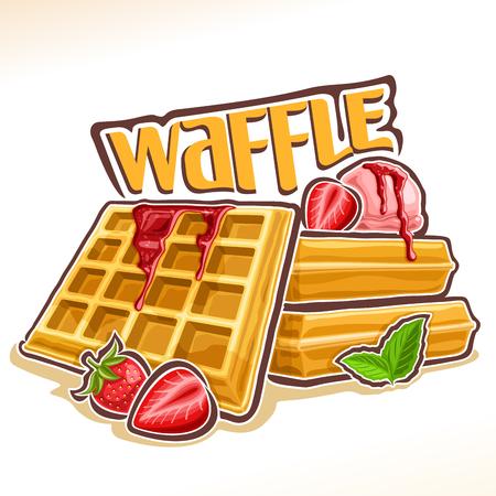 Vector voor Belgische wafel, poster met huisgemaakt gebak ingericht aardbeienjam en muntblad, originele lettertype voor woord wafel, illustratie van heap vierkante wafels met ijs voor patisserie menu Stockfoto - 90579229