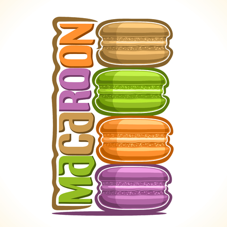 Vector logo for Macaroon, illustration of stack colorful macarons for cafe menu, original font for pastel word title macaroon, vertical banner with 4 sweet sandwiches with cream, french light dessert.