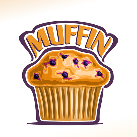 Vector logo for Blueberry Muffin, original font for yellow word muffin, poster with fresh baked goods for morning breakfast, illustration of small vegetarian muffin with blue berries for cafe menu.