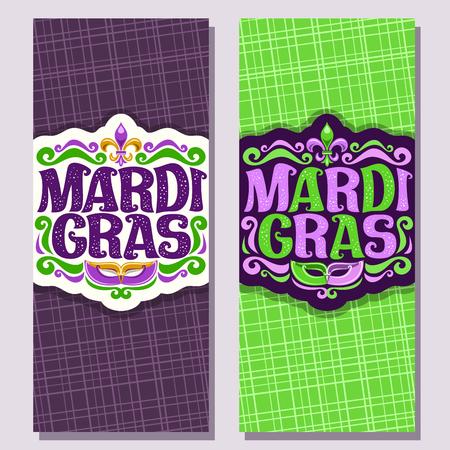 Wektor pionowe banery na karnawał Mardi Gras, zapraszam bilety z fioletową maską wenecką, oryginalną czcionką świątecznego tekstu mardi gras na zielono, symbol fleur de lis, układy na karnawał w Nowym Orleanie.