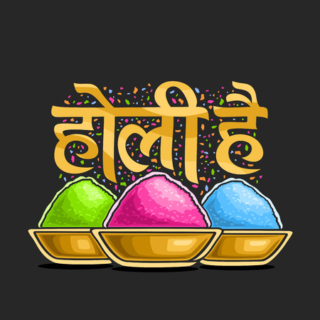 A Vector poster for Indian Holy Festival, colorful logo for traditional holiday in India, fun hindu festival of colors, decorative font for words holi hai in hindi, bowls with bright gulal powder.