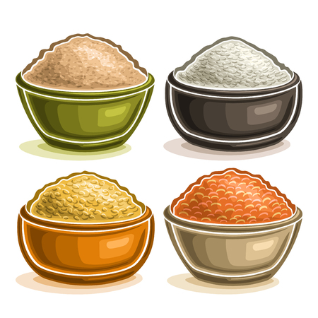 Vector set of different groats in bowls, heap of raw oat cereals, grains of organic chinese rice, yellow dried peas and healthy red lentils, set of variety seeds in plates isolated on white background Illustration