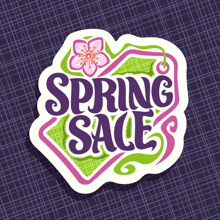 Vector for Spring season Sale, promotion price tag for spring discount, decorative handwritten font for text spring sale, springtime cut paper label with flower, promo coupon for seasonal offer.