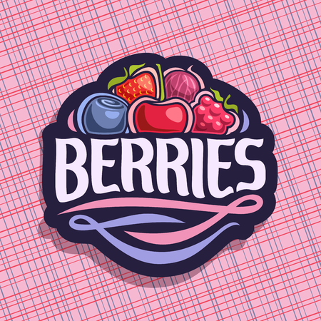 Vector for Berries, cut sign with fresh strawberry, red gooseberry, healthy blueberry, cherry berry, ripe raspberry on geometric background, veg mix label with text berries for vegan nutrition. Illustration