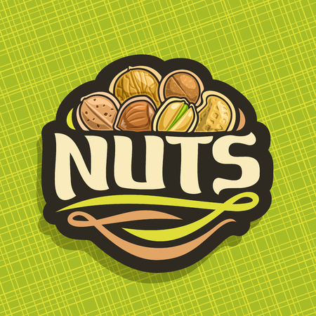 Vector icon for Nuts, cut sign with pile of healthy walnut, australian macadamia nut, sweet almond, forest hazelnut, cracked pistachio, peanut in nutshell, veg mix label with text nuts for vegan store Vectores