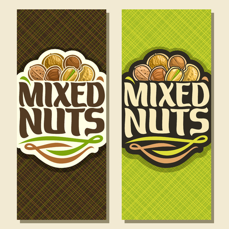 Vector banner for Nuts, cut sign with pile of walnut, australian macadamia nut, sweet almond, forest hazelnut, cracked pistachio, peanut in nutshell, veg mix label with text mixed nuts for vegan store Illustration