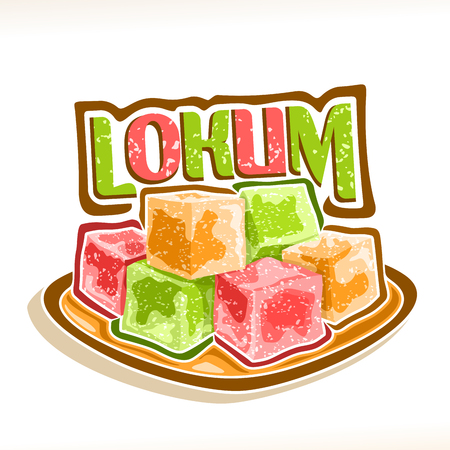 Vector illustration of Lokum, poster with pile of colorful turkish delight powdered sugar on square dish.