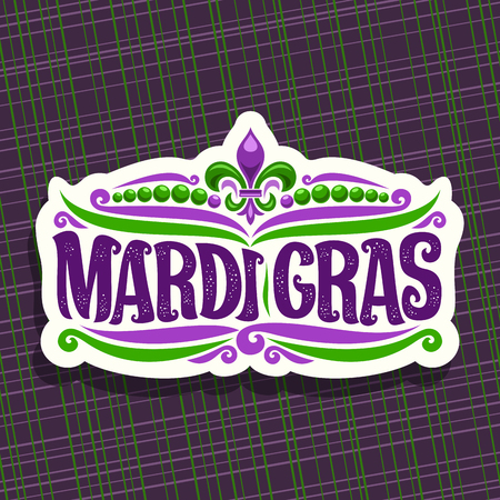 Vector icon for Mardi Gras Carnival, cut label with beads and symbol fleur de lis, original font for festive brush text mardi gras on purple abstract background, white sign for carnival in New Orleans