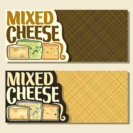 Vector banners for Cheese with copy space, slices of delicious Italian parmesan, french roquefort with blue mold and dutch maasdam with holes cheeses.