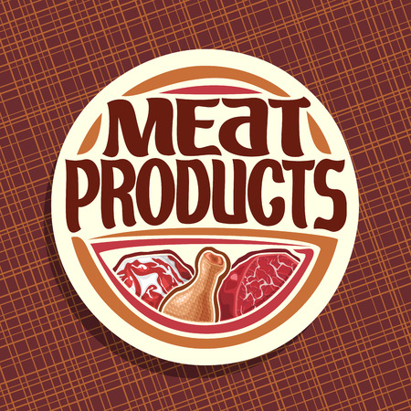 Icon vector for meat, chop slice of fat pork, uncooked chicken drumstick and cut piece of raw beef meat, original brush typeface for words meat products, white decorative price tag for butcher shop. Stock Illustratie
