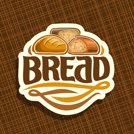 Icon vector for bread, whole french baguette, sliced half of cereal loaf and homemade cut rye bread, design label with original brush typeface for word bread, white price tag for bakery shop on brown.