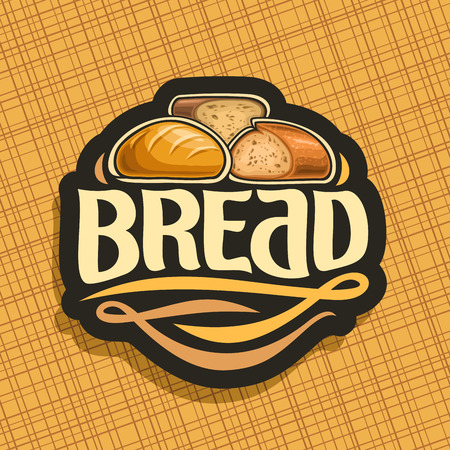 Icon vector for bread, whole french baguette, sliced half of cereal loaf and homemade cut rye bread, design label with original brush typeface for word bread, black price tag for bakery shop on yellow. Illustration