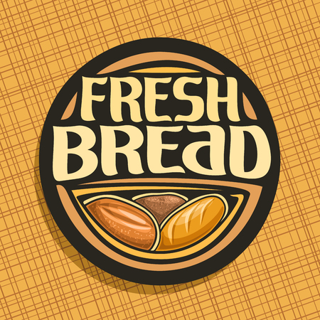 Bread, whole cereal loaf, homemade rye bread and wheat french baguette vector icon.