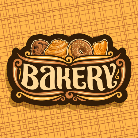 Icon vector for bakery, original brush typeface for word bakery, homemade cookie with chips, Swedish cinnamon roll, donuts with chocolate glaze and fresh french croissant on signboard of bakery shop. Illustration