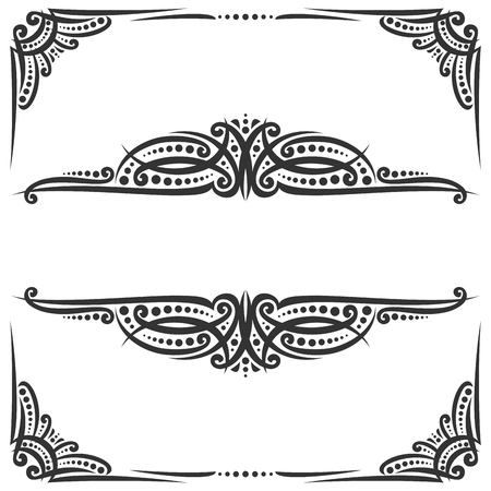 Vector decorative black frames on white, ornate decoration with flourishes for wedding invitation, vintage filigree dividers with curls and dots, border with sophisticated victorian design elements. Ilustração