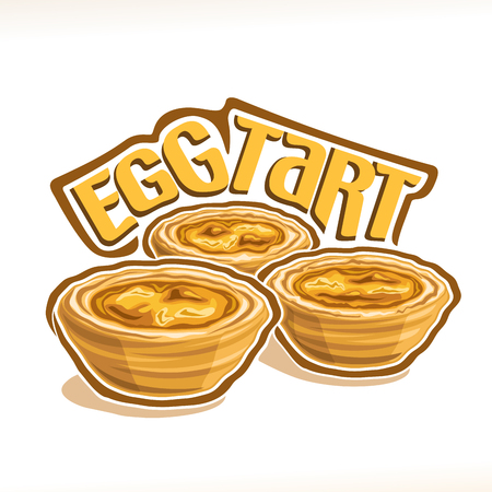 Vector illustration of portuguese dessert Egg Tart, group of three pastries with custard creme baked in oven, poster with original typeface for title egg tart and homemade puff sweet bakery on white.