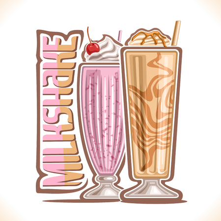 Vector illustration of Milkshake, 2 cold desserts and original typeface for word milkshake, strawberry smoothie with soft serve ice cream and cherry up, vanilla mixed milk shake with caramel syrup. Illustration