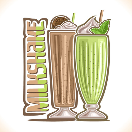 Vector illustration of Milkshake, 2 cold desserts and original typeface for word milkshake, coffee smoothie with chocolate cookie, mint milk shake with peppermint leaf and soft serve ice cream up.