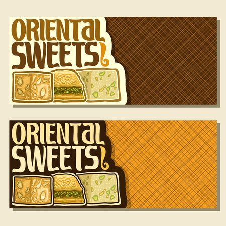 Vector banners for Oriental Sweets with copy space, flyer for eastern patisserie with original brush typeface for words oriental sweets and turkish delight lokum, arabic honey baklava and tahini halva