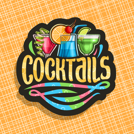 alcoholic Cocktails, black signage with 3 colorful refreshing mocktails and original brush typeface for word cocktails, classic cosmopolitan, blue hawaiian and frozen margarita drinks.