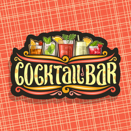 Cocktail Bar, vintage black signboard with 5 colorful refreshing mocktails and original brush typeface for words cocktail bar on dark, set of alcohol drinks with ice and fruit garnish.