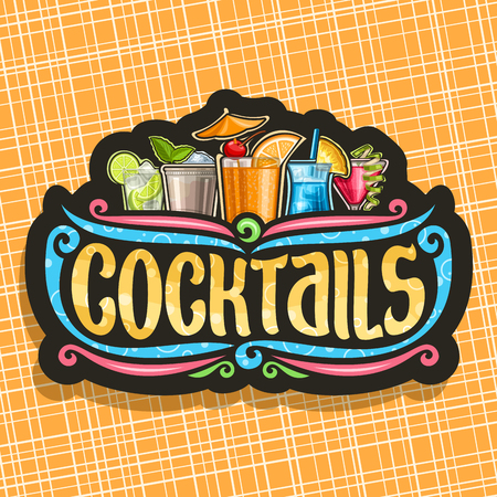 Cocktails, vintage black signboard with 5 colorful refreshing mocktails and original brush typeface for word cocktails on dark, set of alcoholic drinks with ice cubes and fruit garnish Illustration