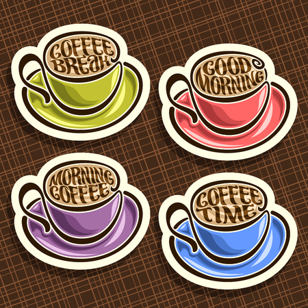 Vector set of colorful Coffee Cups, original typeface for wishes good morning written on surface of espresso coffee, 4 mugs and saucers for left-handed with hot drinks on brown abstract background.