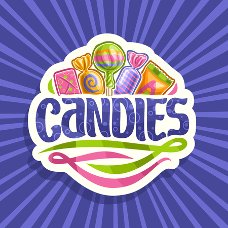 Vector logo for Candies, on cut paper sticker 5 wrapped sweets in colorful plastic package up, original brush typeface for word candies and abstract swirls down, on blue background of rays of light. Illustration