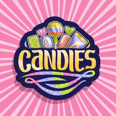 Logo vectoriel pour bonbons, sur autocollant sombre 5 bonbons enveloppés dans un emballage en plastique coloré vers le haut, police de pinceau originale pour bonbons de mot et tourbillons arc-en-ciel de couleur vers le bas, sur fond rose de rayons de lumière.