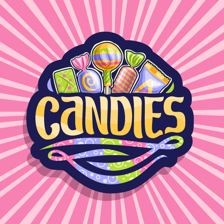 Vector logo for Candies, on dark sticker 5 wrapped sweets in colorful plastic package up, original brush typeface for word candies and swirls rainbow colored down, on pink background of rays of light.