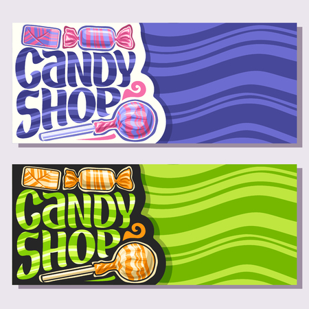 Vector banners for Candy Shop with copy space, 3 wrapped candies in colorful plastic package