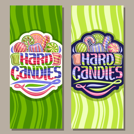 Vector vertical banners for Hard Candies, on logo many assorted striped candies up, original brush typeface for words hard candies rainbow colored and abstract swirls down, on green waves background.