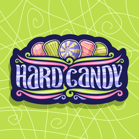 Vector icon for Hard Candy, on dark vintage signboard 5 variety striped drop candies up Vettoriali