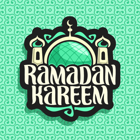 Vector logo for muslim calligraphy Ramadan Kareem, black sign with original brush typeface for words ramadan kareem, label with dome and minarets of mubarak mosque on green moroccan seamless pattern.