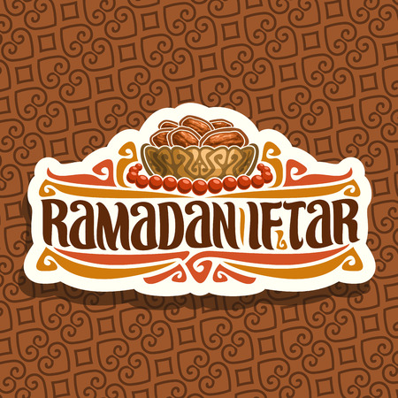 Vector logo for Ramadan Iftar Party, cut paper sign with pile of islamic fasting food - dried dates in bronze bowl and red prayer beads or muslim rosary, original brush typeface for words iftar party.
