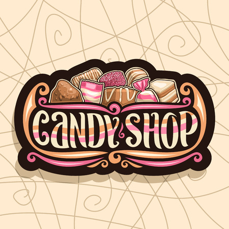 Vector icon for Candy Shop, retro signboard with pile of Swiss praline, Belgian bonbon, sweet dark truffle, wrapped toffee and licorice all sorts candies, original brush typeface for words candy shop. Vettoriali