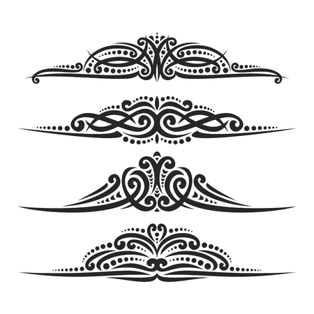 Vector set of black page dividers for greeting text, 4 filigree separators of Indian style for wedding title, design elements for create border, ornate decorations with flourishes ornament on white. Illustration