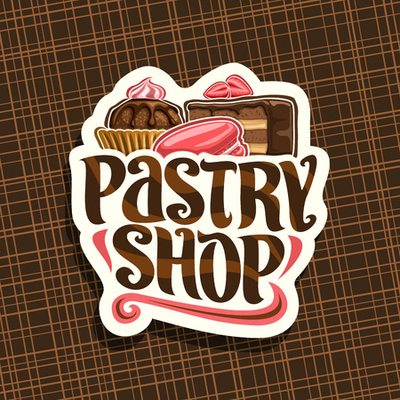 Vector logo for Pastry Shop, cut paper sign with cocoa dessert in waffle cup, slice of chocolate cake.