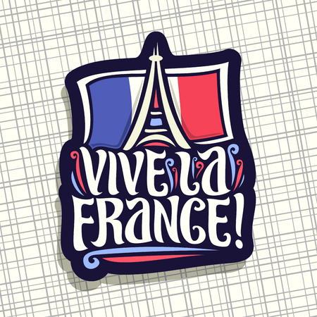 Vector logo for motto Vive La France! Dark sign for patriotic holiday of france with french national flag and abstract eiffel tower in paris, original brush typeface for words vive la france in french 일러스트