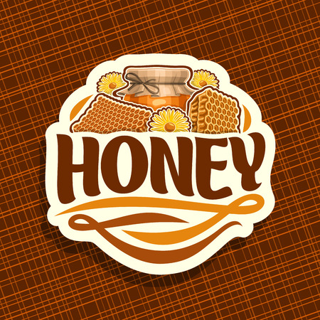 Vector logo for rustic Honey, label with beeswax honeycomb, yellow daisy flowers and glass jar of honey covered paper cap tied twine in a bow, sign for package with original typeface for word honey.