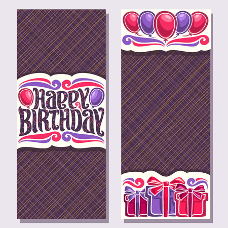 Vector greeting cards for Birthday Holiday, vertical double sided invitations with colorful gift boxes and balloons for anniversary holiday, original brush typeface for greeting text happy birthday. Vettoriali