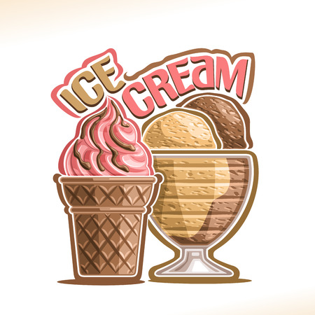 Vector illustration of natural Ice Cream, poster with soft serve strawberry icecream in cacao wafer cone, chocolate and vanilla italian gelato in glass bowl, original typography for words ice cream.