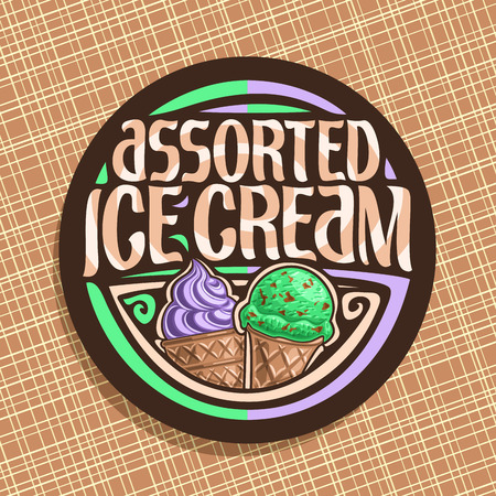 Vector logo for italian Ice Cream, round dark label with purple sweet potato soft serve icecream in wafer cap.