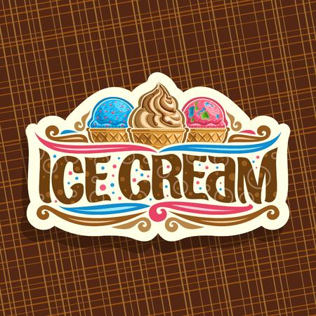 Logo vectoriel pour la crème glacée italienne, signalisation en papier découpé pour café avec boules de scoop bleu et rose. Logo