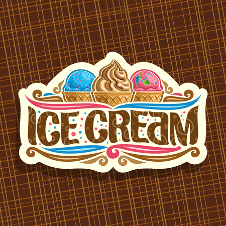 Vector logo for italian Ice Cream, cut paper signage for cafe with blue and pink scoop balls.