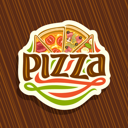 Vector logo for Italian Pizza, cut paper sign with 4 sliced pieces different kinds of pizza for pizzeria.