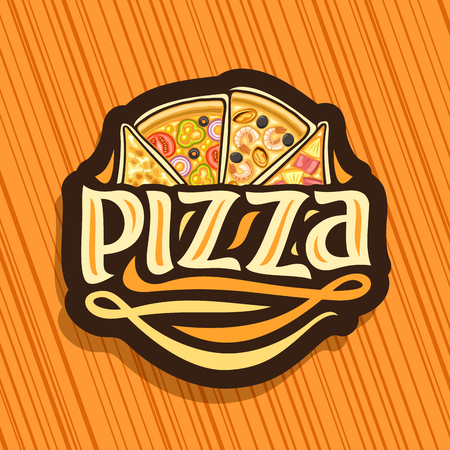 Vector logo for Italian Pizza, dark sign with 4 sliced pieces different kinds of pizza for pizzeria.